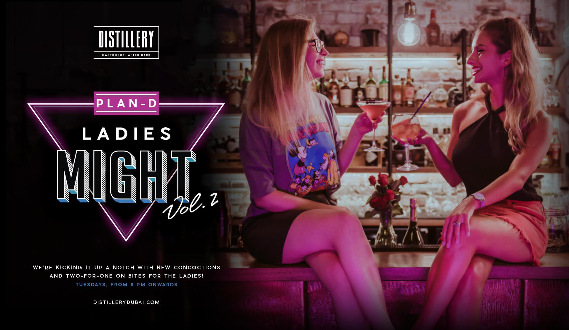 Ladies Night - Distillery Gastropub. After Dark - Banner with text